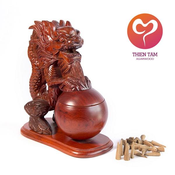 Rồng Xông Trầm Gỗ Hương (Size 25)
